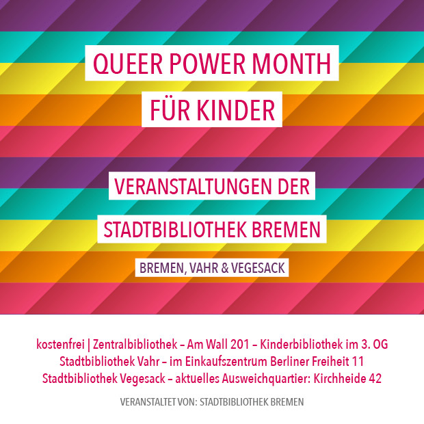 Queer Power Month für Kinder | 1.9., 8.9., 11.9., 15.9., 22.9., 29.9.