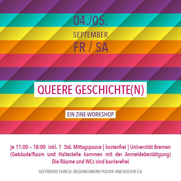 FR 4.9./SA 5.9.20 – 11:00 | Queere Geschichte(n) – ein Zine-Workshop