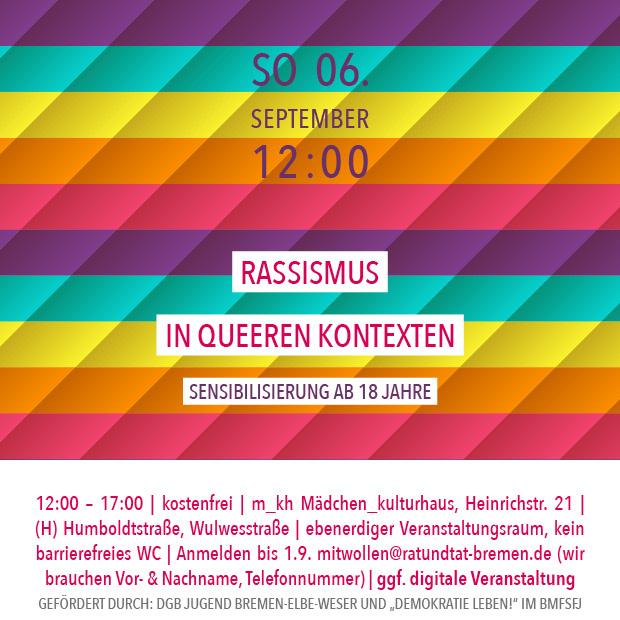 SO 6.9.20 – 12:00 | Rassismus in queeren Kontexten – Sensibilisierungsworkshop +++ausgebucht+++