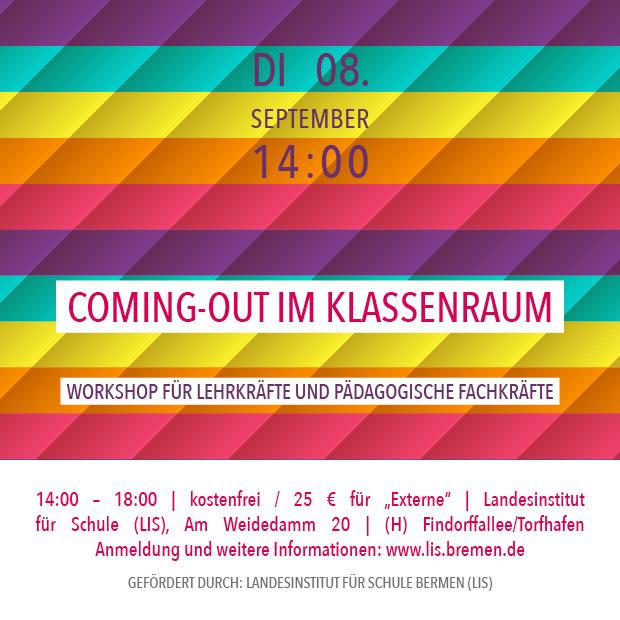 DI 8.9.20 – 14:00 | Coming-out im Klassenraum – Workshop für Lehrkräfte und pädagogische Fachkräfte