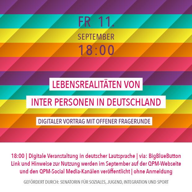 FR 11.9.20 – 18:00 | Lebensrealitäten von inter Personen in Deutschland – digitaler Vortrag mit offener Fragerunde