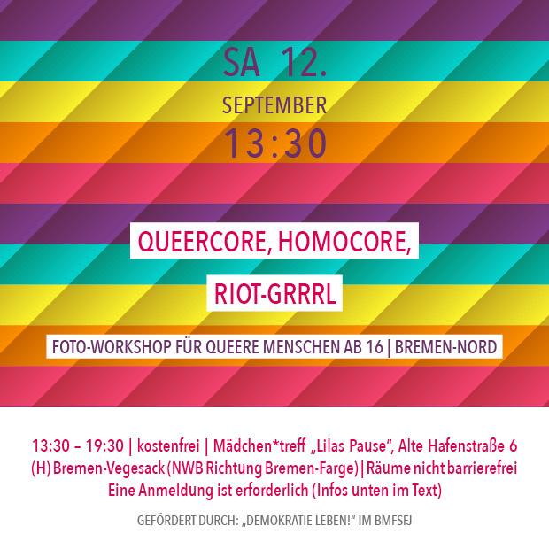 SA 12.9.20 – 13:30 | Queercore, Homocore, Riot-Grrrl – Fotoworkshop