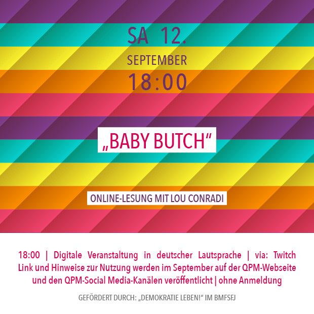 "SA 12.9.20 – 18:00 | ""Baby Butch"" – Online-Lesung mit Lou Conradi"