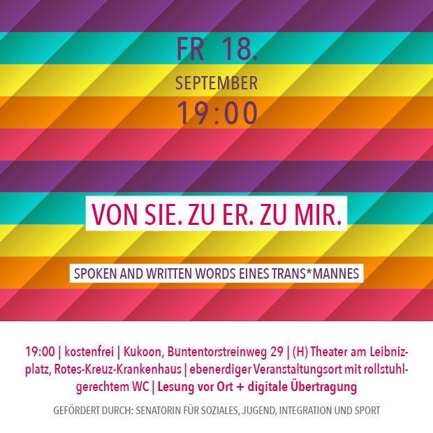 FR 18.9.20 – 19:00 | Von sie. Zu er. Zu mir. – Spoken and Written Words eines Trans*Mannes