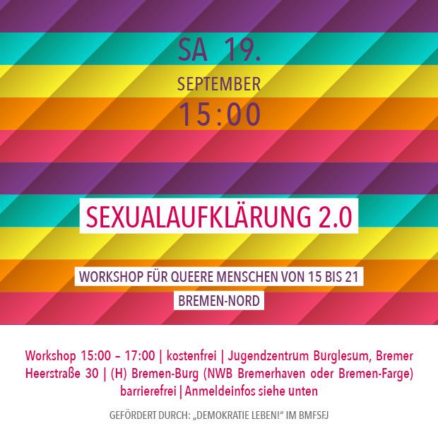 SA 19.9.20 – 15:00 | Sexualaufklärung 2.0 – Workshop für queere Menschen von 15-21