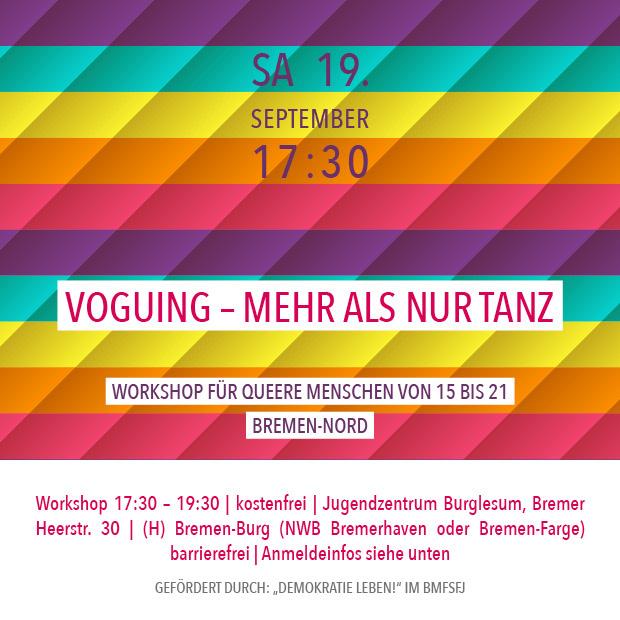 SA 19.9. – 17:30 | Voguing – mehr als nur Tanz – Workshop für queere Menschen von 15 bis 21