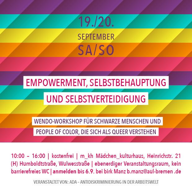 SA 19./SO 20.9.20 | Empowerment, Selbstbehauptung und Selbstverteidigung – Wendo-Workshop für Schwarze Menschen und People of Color