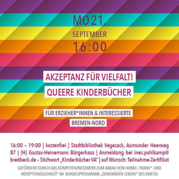 MO 21.9.20 – 16:00 | Akzeptanz für Vielfalt. Queere Kinderbücher – für Erzieher*innen und Interessierte