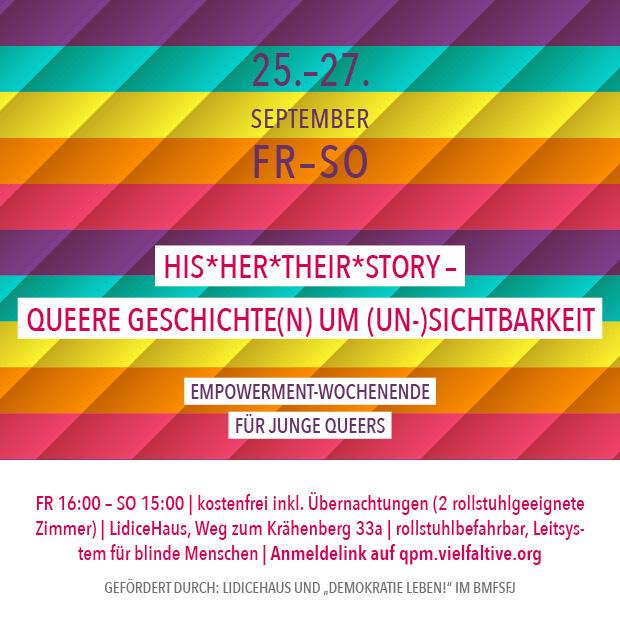 FR-SO 25.-27.9.20 | His*Her*Their*Story – Queere Geschichte(n) um (Un-)Sichtbarkeit – Empowerment-Wochenende für queere Jugendliche