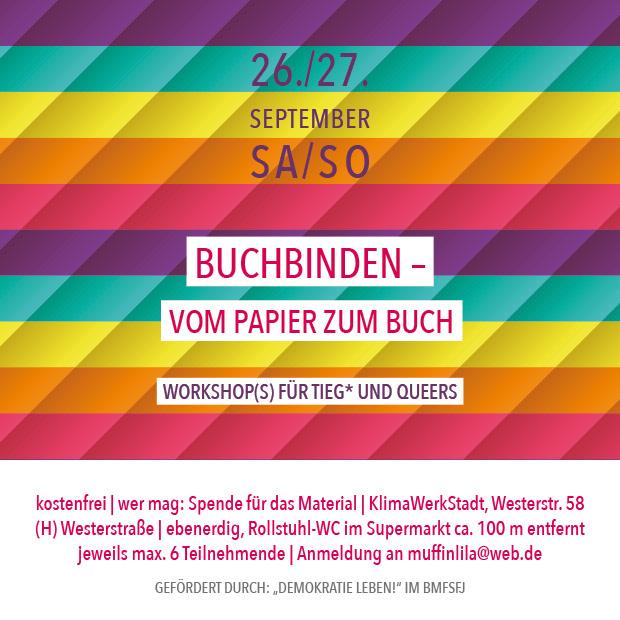 SO 27.9.20 – 11:00 | Buchbinden – vom Papier zum Buch – Workshop für Queers