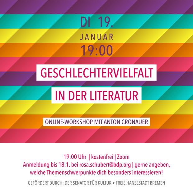 DI 19.1.21 | Geschlechtervielfalt in der Literatur – mit Anton Cronauer