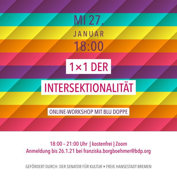 MI 27.1.21 – 18:00 | 1x1 der Intersektionalität – Online-Workshop mit blu Doppe