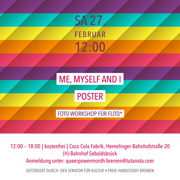 SA 27.2.21 – 12:00 | Me, Myself and I – Poster | Foto-Workshop für FLITQ*