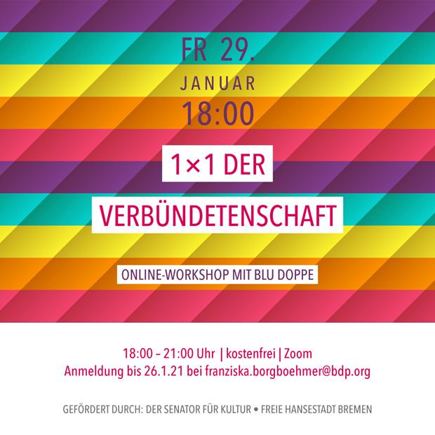 FR 29.1.21 – 18:00 | 1x1 der Verbündetenschaft – Online-Workshop mit blu Doppe